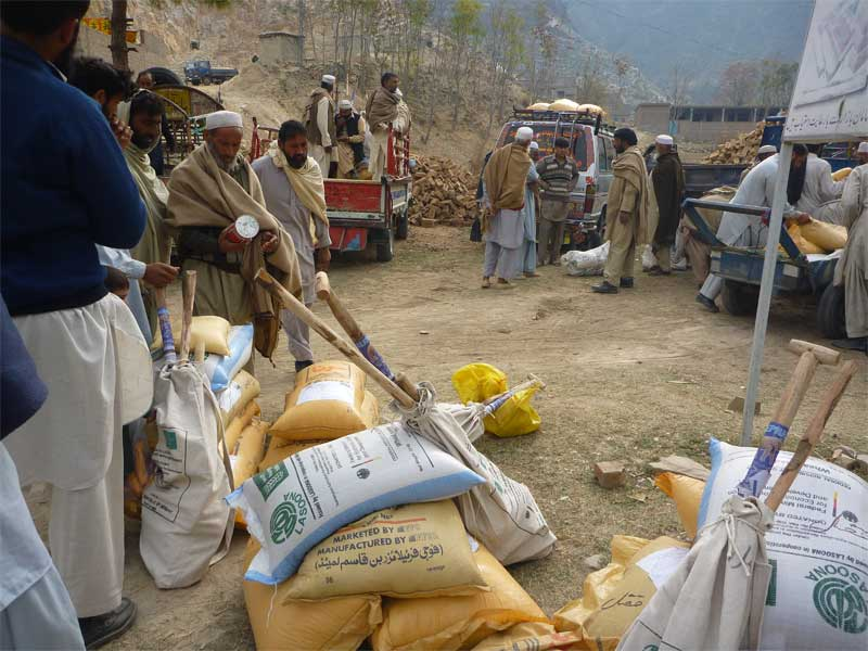 Flood affected farmers of Swat Shangla and Kohistan were provided Rabi season Agriculture Inputs and tools.